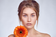 Close-up portrait of beautiful girl with light make-up Stock Photography