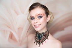 Woman beauty face art make up stock photos