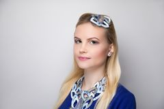 Woman blue white make up royalty free stock photography
