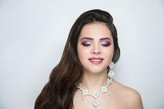 Woman bride make up stock image