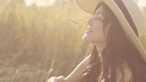 Close-up portrait of a beautiful girl sitting on a meadow and holding a straw in her mouth stock footage