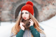 Close-up portrait of a beautiful girl in winter fashionable clot Royalty Free Stock Image
