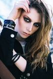 Close-up portrait of the beautiful grunge rock girl Royalty Free Stock Photo
