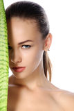 Close-up portrait of a beautiful healthy woman with perfect skin Royalty Free Stock Images