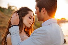 Close up portrait of a beautiful married couple. At the beach Stock Image