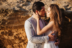 Close up portrait of a beautiful married couple. At the beach Royalty Free Stock Photography