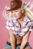 Close-up portrait of beautiful rodeo girl Stock Photos