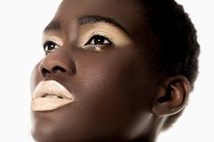 close-up portrait of beautiful sensual african american girl with white lips looking away royalty free stock image