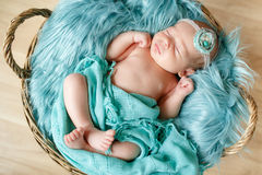 Close-up portrait of a beautiful sleeping baby. stock images