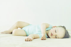 Close-up portrait of a beautiful sleeping baby. Cute infant kid. Stock Image