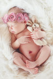 Close-up portrait of a beautiful sleeping baby. Stock Photos