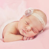 Close-up portrait of a beautiful sleeping baby. Royalty Free Stock Photography