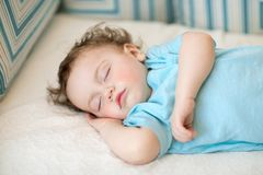 Close-up portrait of a beautiful sleeping child royalty free stock photography