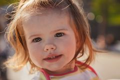 Close up portrait of beautiful small baby, blond little girl in colourful pullover in park outdoors Royalty Free Stock Images