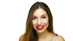 Close up portrait of beautiful smiling woman with white teeth, looking at the camera on white background stock image