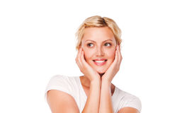 Close up portrait of beautiful smiling woman Royalty Free Stock Images