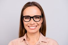 Close up portrait of beautiful smiling young business lady in a royalty free stock photos