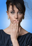 Close-up portrait of a beautiful surprised woman Royalty Free Stock Photos