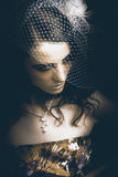 Close Up Portrait Of A Beautiful Vintage Bride Royalty Free Stock Images