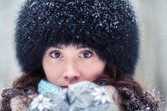 Close-up portrait of beautiful winter woman Royalty Free Stock Photo