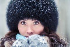 Close-up portrait of beautiful winter woman royalty free stock photo