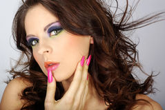 Close-up portrait of beautiful woman. With professional makeup stock photos