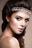 Close-up portrait of beautiful woman with bright Royalty Free Stock Images