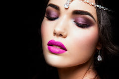 Close-up portrait of beautiful woman with bright Royalty Free Stock Photo