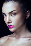 Close-up portrait of beautiful woman with bright Royalty Free Stock Image