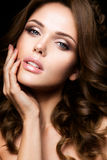 Close-up portrait of beautiful woman with bright make-up Stock Images