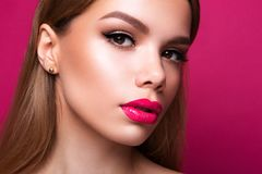 Close-up portrait of beautiful woman with bright make-up royalty free stock photography