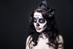 Close up portrait of beautiful woman with creative Halloween sku Stock Photography