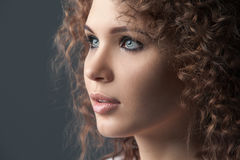 Close up portrait of beautiful woman face Royalty Free Stock Photos