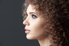 Close up portrait of beautiful woman face Stock Photo