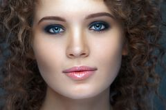 Close up portrait of beautiful woman face Royalty Free Stock Photo
