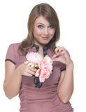 Close up portrait of beautiful woman with flower Stock Image