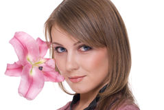 Close up portrait of beautiful woman with flower Royalty Free Stock Image