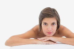 Close up portrait of a beautiful woman on massage table Royalty Free Stock Images
