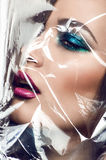 Close-up portrait of beautiful woman model face Royalty Free Stock Photo