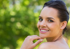 Close-up portrait of beautiful woman in park Stock Image