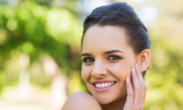 Close-up portrait of beautiful woman in park Stock Photo