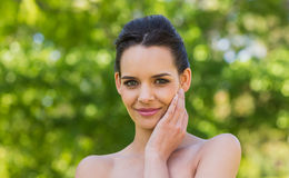 Close-up portrait of beautiful woman in park Stock Photography
