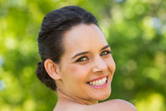 Close-up portrait of beautiful woman in park Stock Images