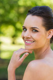 Close-up portrait of beautiful woman in park Royalty Free Stock Images