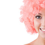 Close-up portrait of a beautiful woman with pink hat Stock Photo