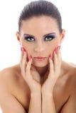 Close-up portrait of beautiful woman with professi. Onal makeup Stock Photos