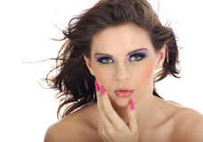 Close-up portrait of beautiful woman with professi. Onal makeup stock photo