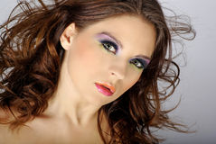 Close-up portrait of beautiful woman with professi. Onal makeup stock images