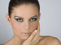 Close-up portrait of beautiful woman with professi. Onal makeup stock photography