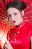 Close up portrait of beautiful woman in red japanese dress with Royalty Free Stock Image